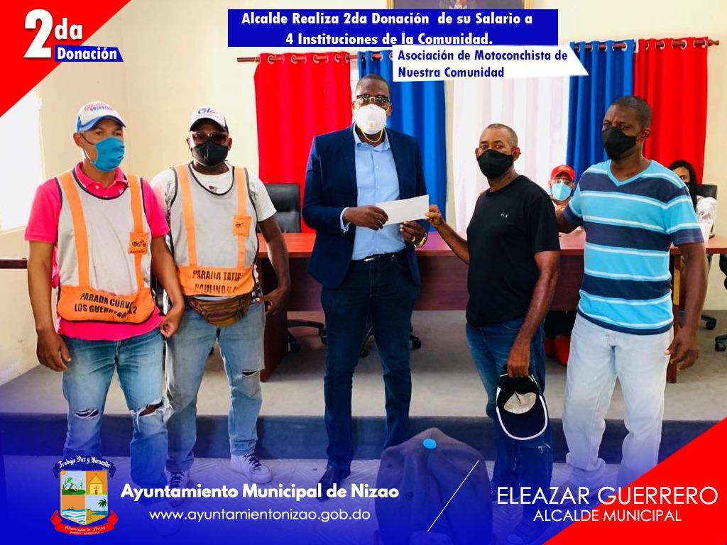 Eleazar Guerrero cumple promesa de campaña, dona sueldo a organizaciones locales.