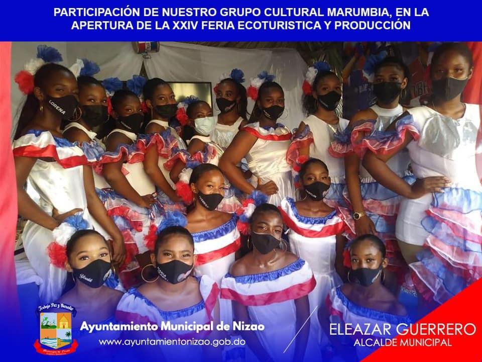 PARTICIPACIÓN ARTÍSTICA DE NUESTROS GRUPOS CULTURALES LAS NIZA, Y MARUMBIA EN EL DÍA DE AYER EN LA APERTURA DE LA XXIV FERIA ECOTURISTICA Y PRODUCCIÓN.